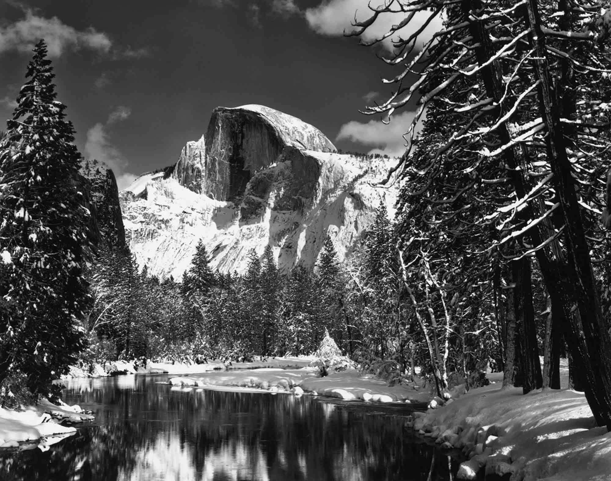 ansel-adams-Half-Dome-Merced-River-Winter